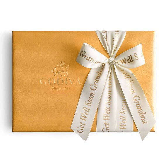 Assorted Chocolate Gold Gift Box, Personalized Ivory Ribbon, 36 pc. image number null