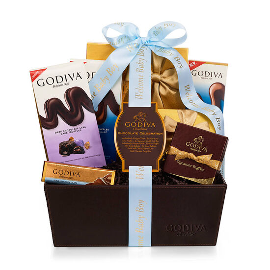 Chocolate Celebration Gift Basket, Welcome Baby Boy Ribbon image number null