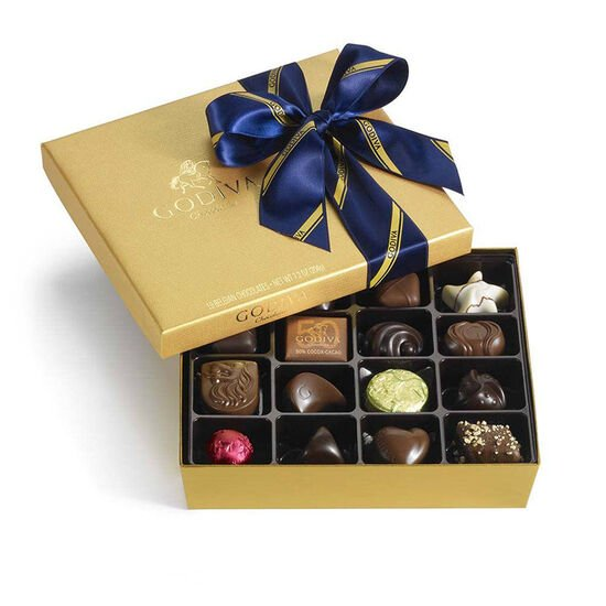 Assorted Chocolate Gold Gift Box, Striped Tie Ribbon, 19 pc. image number null