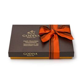 Dark Chocolate Assortment Gift Box, Orange & Brown Ribbon, 27 pc.