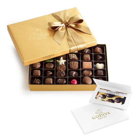 $50 Gift Card & Assorted Chocolate Gold Gift Box, 36 pc. image number null