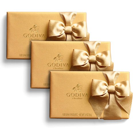 Assorted Chocolate Gold Gift Box, Gold Ribbon, Set of 3, 8 pc. each