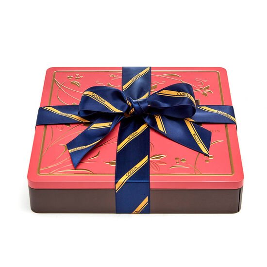 Chocolate Biscuit Tin, Striped Tie Ribbon, 46 pc. image number null