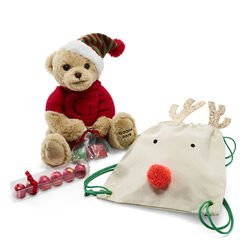 Reindeer Backpack with Holiday Bear and 6pc. Cherry Cordials