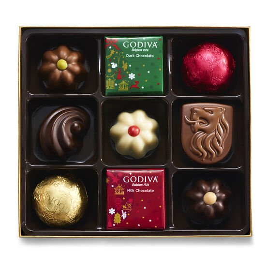 Assorted Chocolate Holiday Gift Box, 9 pc. image number null