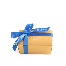 Assorted Chocolate Gold Favor, Personalized Royal Blue Ribbon, 2 pc.
