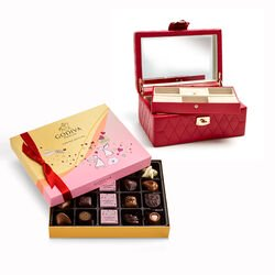 Red Caroline Jewelry Case with Valentine's Day Assorted Chocolate Gift Box, 20 pcs.
