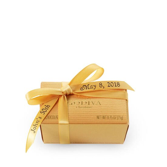 Assorted Chocolate Gold Favor, Personalized Gold Ribbon, 2 pc. image number null