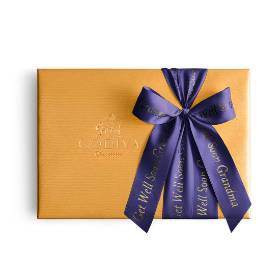 Assorted Chocolate Gold Gift Box, Personalized Purple Ribbon, 36 pc. image number null