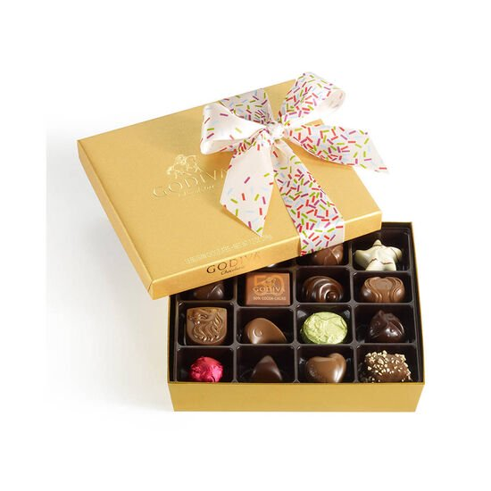 Assorted Chocolate Gold Gift Box, Celebration Ribbon, 19 pc. image number null