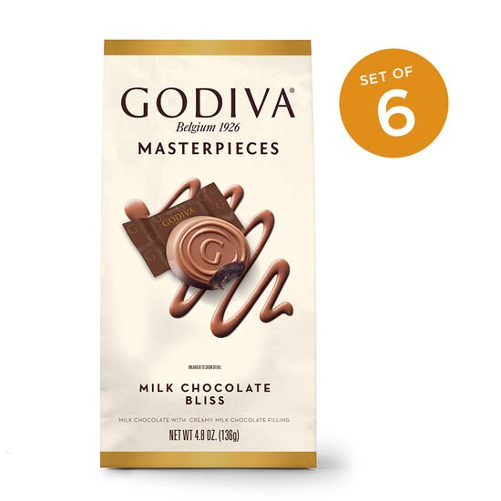 Godiva Masterpieces Milk Chocolate Bliss, Wrapped, Set of 6 image number null