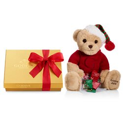 2019 Holiday Plush Bear with Assorted Chocolate Gold Gift Box, Red Holiday Ribbon, 19pc.