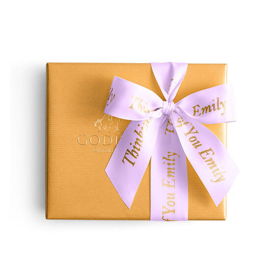 Assorted Chocolate Gold Gift Box, Personalized Light Orchid Ribbon, 19 pc. image number null
