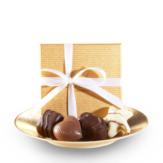 Assorted Chocolate Gold Favor, White Ribbon, 4 pc. image number null