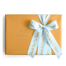 Assorted Gold Gift Box, Personalized Light Blue Ribbon, 70 pc.