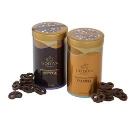 Assorted Chocolate Covered Pretzels Canisters, Set of 2, 1 lb. each