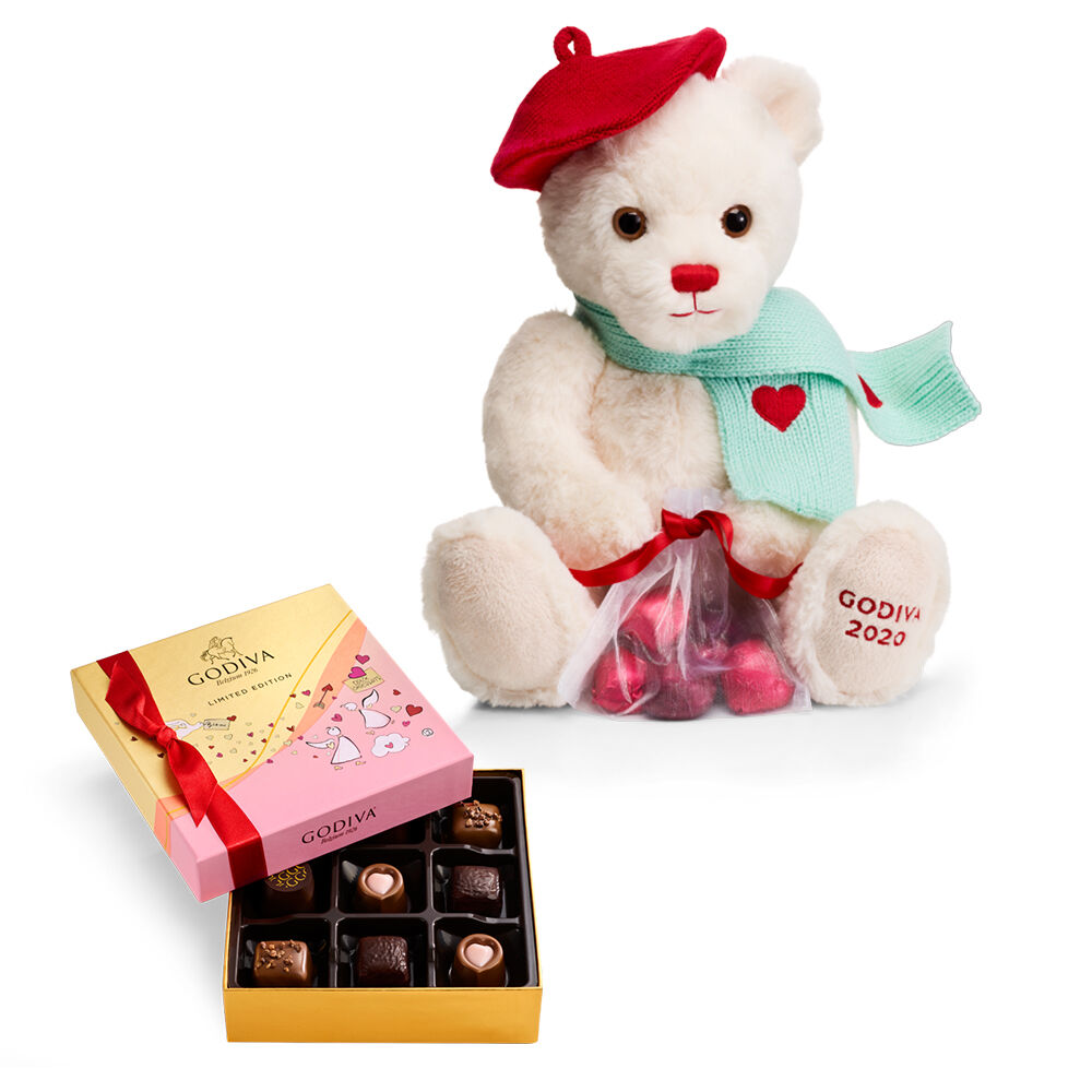 Limited Edition Plush Teddy Bear & Assorted Chocolate Gift Box, 9-pieces