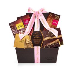 Chocolate Celebration Gift Basket, Personalized Hot Pink Ribbon