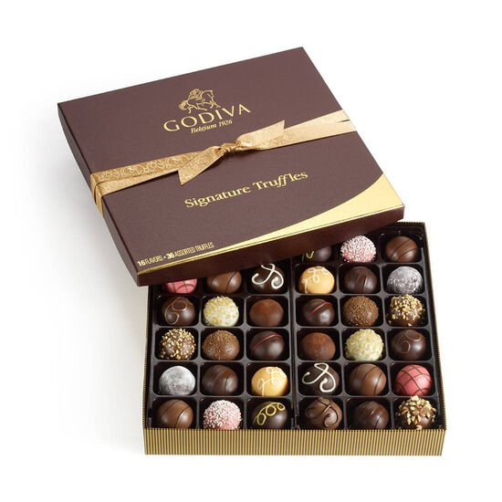 Assorted Signature Chocolate Truffles, Classic Ribbon, 36 pc. image number null