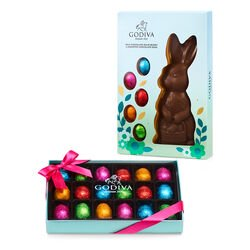 Milk Chocolate Bunny with Chocolate Eggs and Chocolate Easter Egg Gift Box