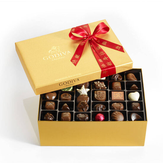 Assorted Chocolate Gold Gift Box, Lunar New Year Ribbon, 105 pc. image number null