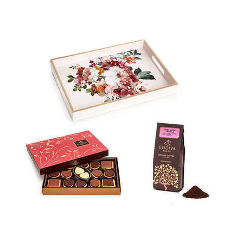 Rose Blush Lacquered Tray with Chocolate Truffle Coffee and Assorted Chocolate Biscuits