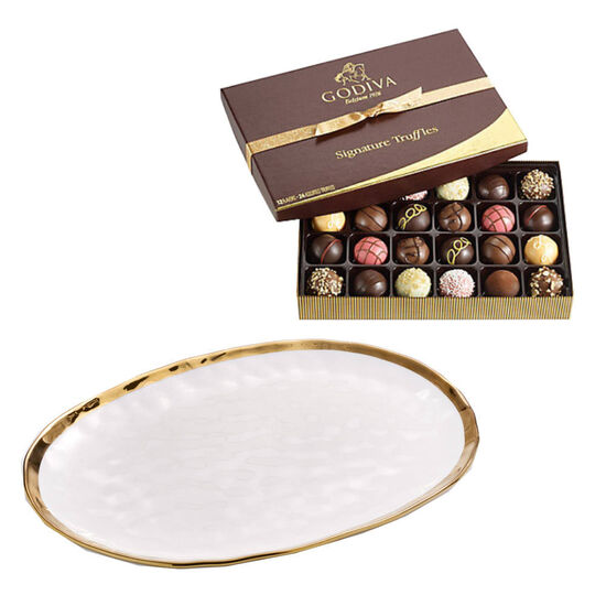 Oval Platter with Signature Truffles Gift Box, 24 pc. image number null
