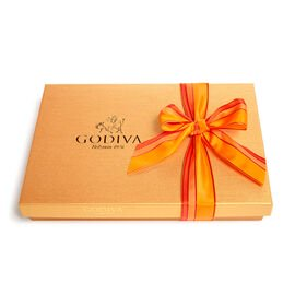 Assorted Chocolate Gold Gift Box, Orange Stripe Ribbon, 36 pc.