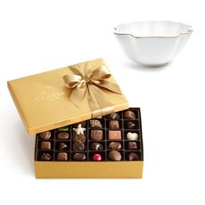Luxury Gold Bowl with Assorted Chocolate Gold Gift Box, 70 pc.