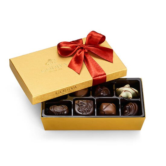 Assorted Chocolate Gold Gift Box, Fall Ribbon, 8 pc. image number null