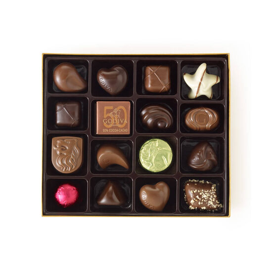 Assorted Chocolate Gold Gift Box, Personalized Peach Ribbon, 19 pc. image number null
