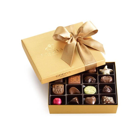 Assorted Chocolate Gold Gift Box, Classic Ribbon, 19 pc. image number null