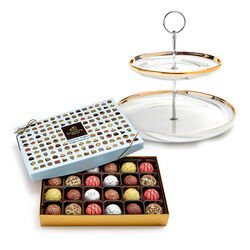 Tiered Marbleized Pedestal with Patisserie Dessert Truffles Gift Box, 24 pc.