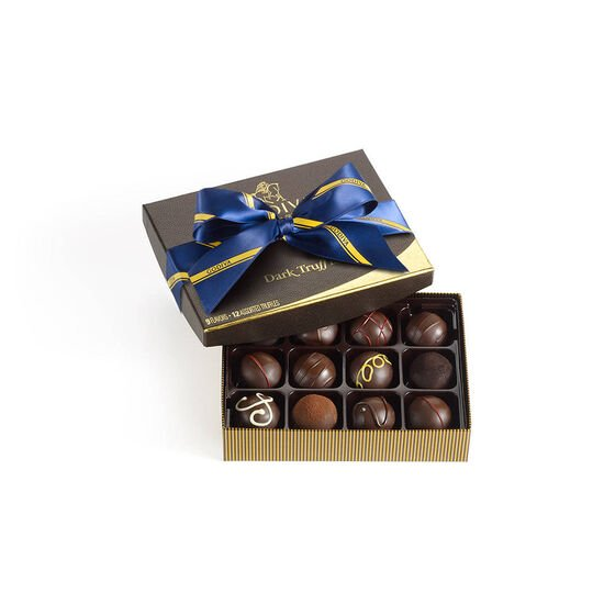 Dark Chocolate Truffles, Striped Tie Ribbon, 12 pc. image number null