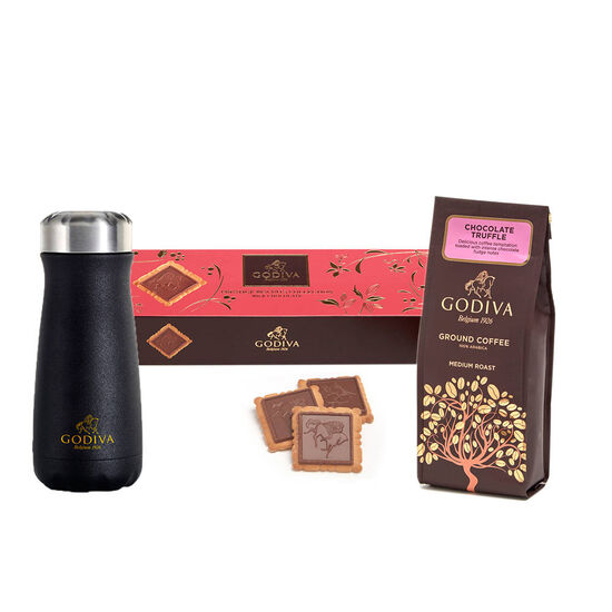 Godiva Traveler Bottle by S'well® with Chocolate Truffle Coffee and Milk Chocolate Biscuits image number null