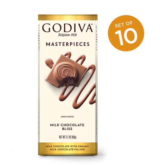 Godiva Masterpieces Milk Chocolate Bliss Bar, Set of 10 image number null