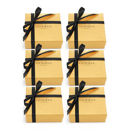 Assorted Chocolate Gold Favor, Black Ribbon, Set of 6, 4 pc.