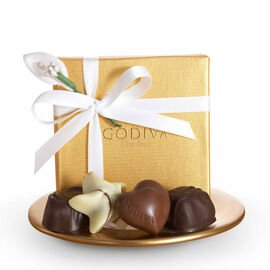 Assorted Chocolate Gold Favor, Ribbon and Flower, 4 pc