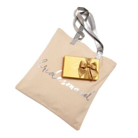 Bridesmaid Tote Bag with Assorted Chocolate Gold Gift Box, 8 pc. image number null