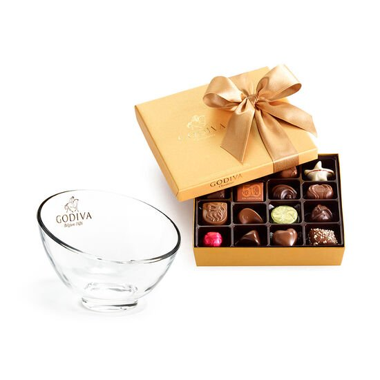Godiva Chocolate Candy Bowl & Assorted Chocolate Gold Gift Box, 19 pc. image number null