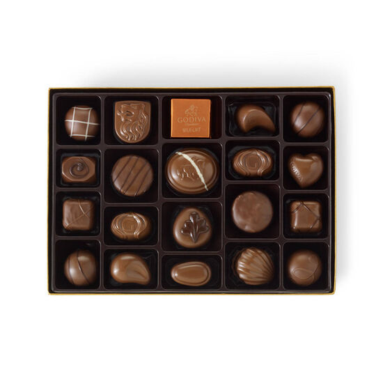 Milk Chocolate Assortment Gift Box, Orange & Brown Ribbon, 22 pc. image number null
