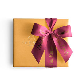 Assorted Chocolate Gold Gift Box, Personalized Wine Ribbon, 19. pc