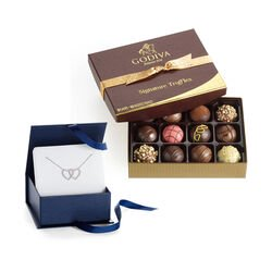 Double Heart Necklace with Assorted Chocolate Truffles, 12 pc.