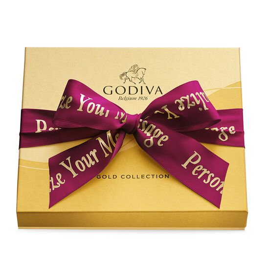 Assorted Chocolate Gold Gift Box, Personalized Wine Ribbon, 19. pc image number null