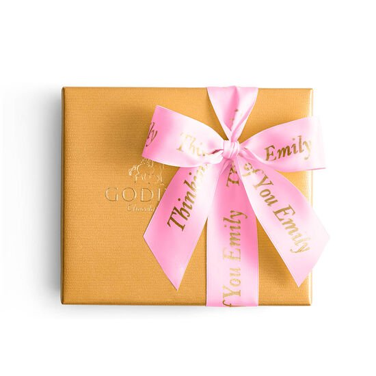 Assorted Chocolate Gold Gift Box, Personalized Hot Pink Ribbon, 19 pc. image number null