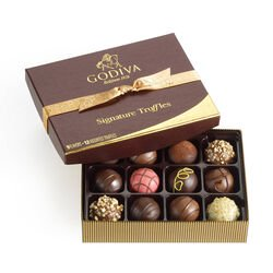 Signature Chocolate Truffles Gift Box, Classic Gold Ribbon, 12 pc.