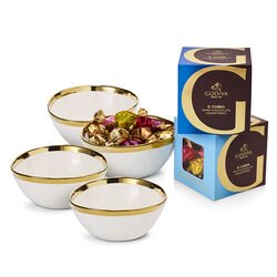 Gold Trim Serving Bowl with Milk & Dark Chocolate Assortment G Cube Boxes