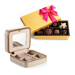 Leather Travel Jewelry Case with Assorted Chocolate Gift Box, 8 pc.