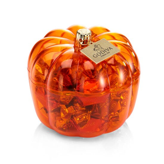 Festive Pumpkin Candy Dish with assorted G Cubes, 21 pc. image number null