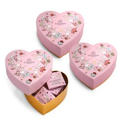Limited Edition Chocolate Mini Heart Gift Box, Set of 3, 6 pc. each